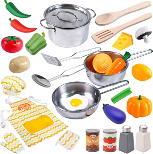 JOYIN Juguetes de Cocina Acero Inoxidable 30 Piezas Set Utensilios de Cocina Culinario Mini Cocina de Juguete Incluye...