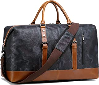 Weekender Overnight Bag Travel Duffle Bag for Men Womens Carry On Tote Bags PU Trim (Camo)