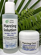 SET Urban ReLeaf Piercing Solution & Piercing Care ! Healing Sea Salts & Tea Tree AFTERCARE Safely Clean, Disinfect & Heal New & Stretched Piercings. Gentle Natural Soothing Works Fast, Non-Iodized