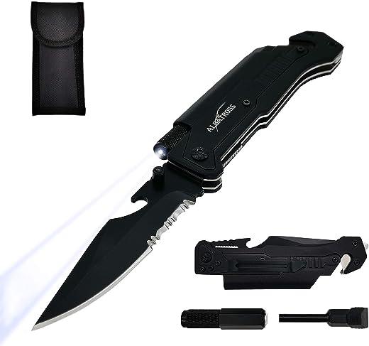 ALBATROSS Best 6-in-1 Survival Tactical Military Folding Pocket Knives with LED Light,Seatbelt Cutter,Glass Breaker,Magnesium Fire Starter,Bottle Opener;Multi-Function Emergency Tool