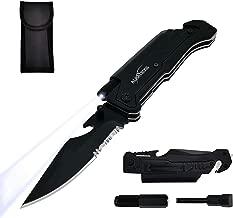 ALBATROSS Best 6-in-1 Survival Tactical Folding Pocket Knife with LED Light, Seatbelt Cutter, Glass Breaker, Magnesium Fire Starter, Bottle Opener; Multi-Function Emergency Tool