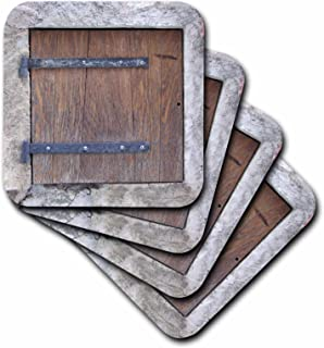 3dRose Wooden Medieval Style Trap Door Photo Print - Offbeat Humor - Unusual Bizarre Humorous Fun Funny - Ceramic Tile Coasters, Set of 4 (CST_157619_3)