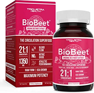 BioBeet® Max Strength Beet Root Capsules - 21:1 Concentrate, Each Serving Derived from 28,350 mg Organic Be...