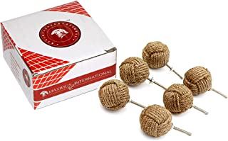 5MoonSun5's Jute Rope Door Knobs/Rope Knot Drawer Pulls and Knobs/Pull and Push Handle Knobs for Cabinets, Wardrobes & Cupboards/Nautical Hardware Decor, 35 mm (Pack of 6)