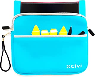 Xcivi Neoprene Protective Carry Case for Boogie Board Scribble 'n Play with Zip Accessary Pocket (Blue)
