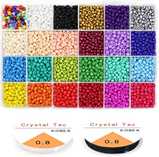 Multicolor Beading Glass Seed Beads Bulk- 8400PCS 24 Colors 4MM Pony Beads Kit Small Tube Round Beads Assorted Kit Opaque Colors Beads Supplies with Crystal Rope for Jewelry Bracelet Making & Beading