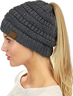 BeanieTail Sparkly Sequin Cable Knit Messy High Bun Ponytail Beanie Hat