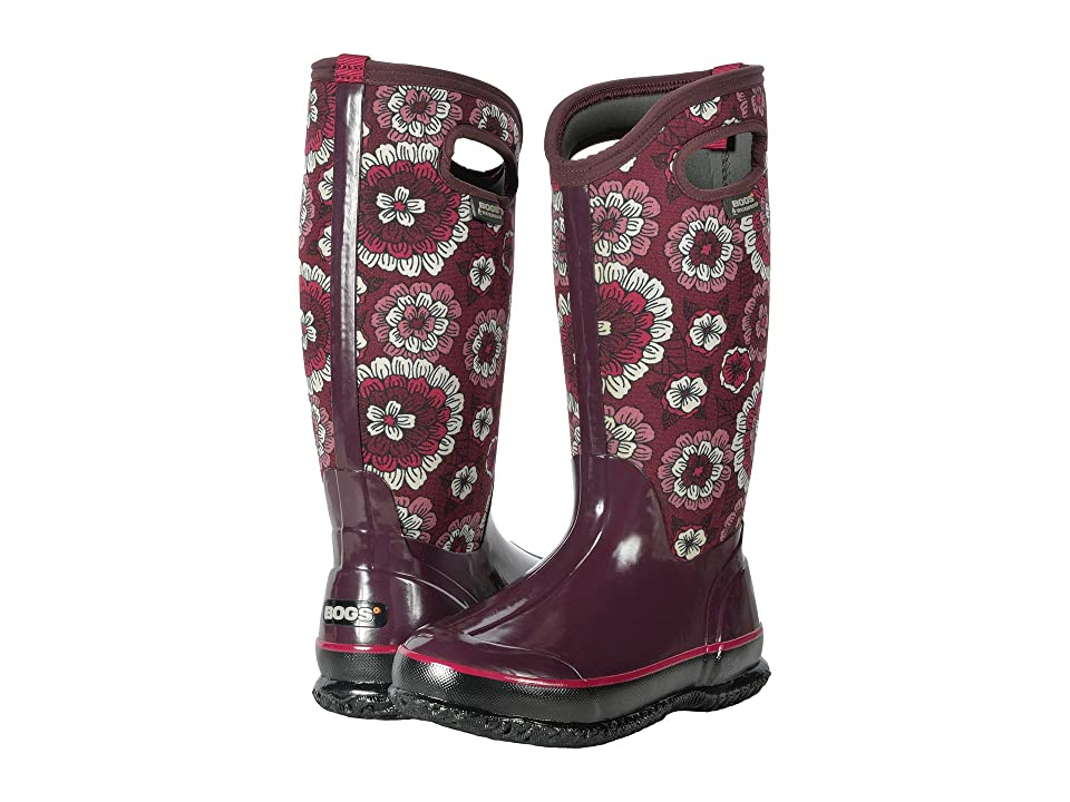 Bogs Classic Tall (Berry Multi Pansies) Women