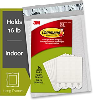 Command Picture Hanging Strips Heavy Duty, Large, White, Holds 16 lbs, 14-Pairs
