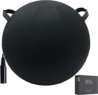 Exercise Ball Chair - Machine Washable Firmer 26-Inch, Shorts & Skirt Friendly with 2 Handles, Quick Pump, Air Stoppers, Stability Beads to Self-Stand, for Birthing, Fitness, Pilates, Stability, Yoga