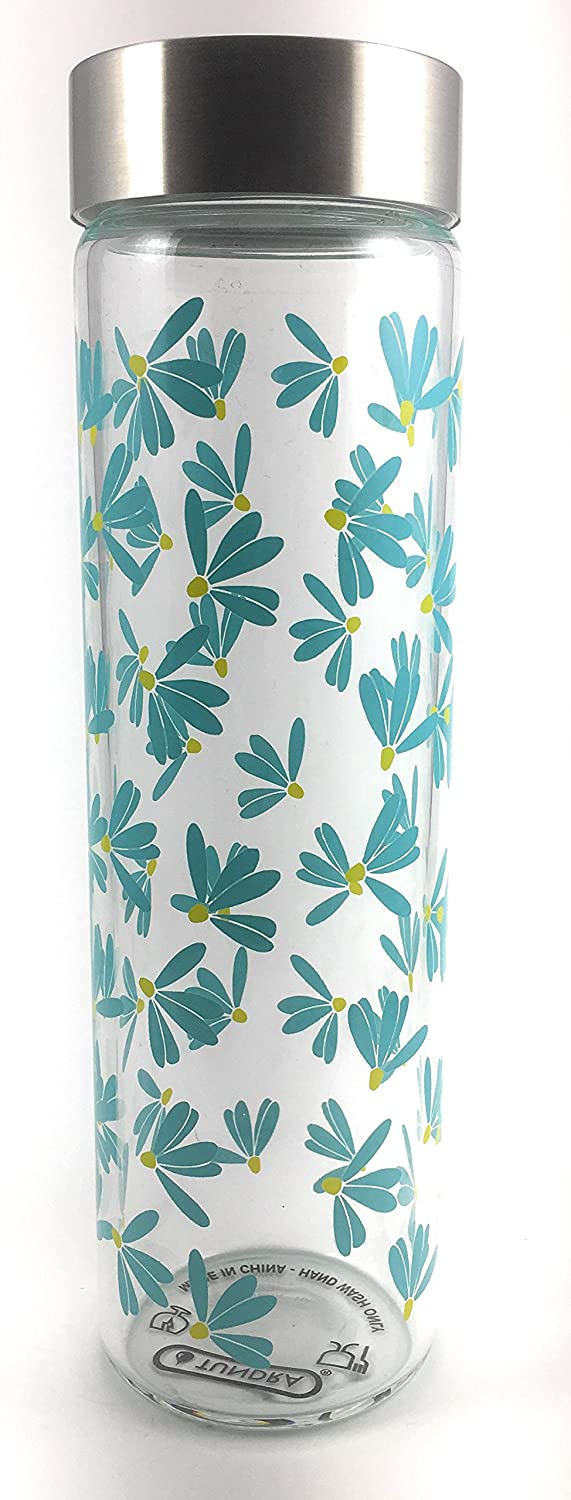 Tundra 17 oz. Glass Water Bottle & Stainless Steel Lid - blueee Forget Me Not