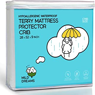 Crib Mattress Protector Waterproof - Baby Plastic Bed Cover - Toddler Waterproof Fitted Sheet (28x52+9 inch Deep)