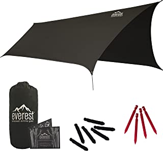 Everest Hammock Rain Fly | Waterproof Outdoor Tarp | Perfect for Camping, Backpacking, Tents, Hammocks, and More | Ripstop Nylon | Lightweight Aluminum Stakes Included
