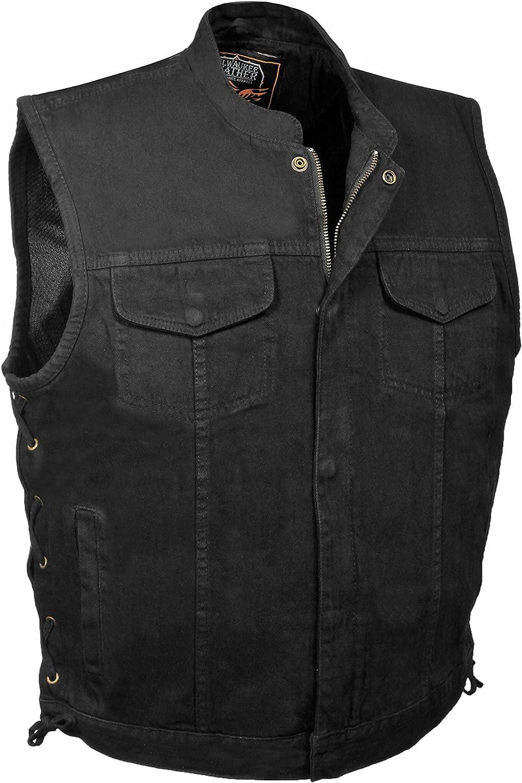 Mens Denim Hidden Zipper Side Lace MC Vest, Black (S)