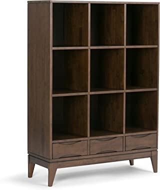 Simpli Home Harper SOLID HARDWOOD 58 inch x 42 inch Mid Century Modern Cube Storage Bookcase, Bookshelf with Drawers in Walnut Brown with 9 Shelves, for the Living Room, Study and Office