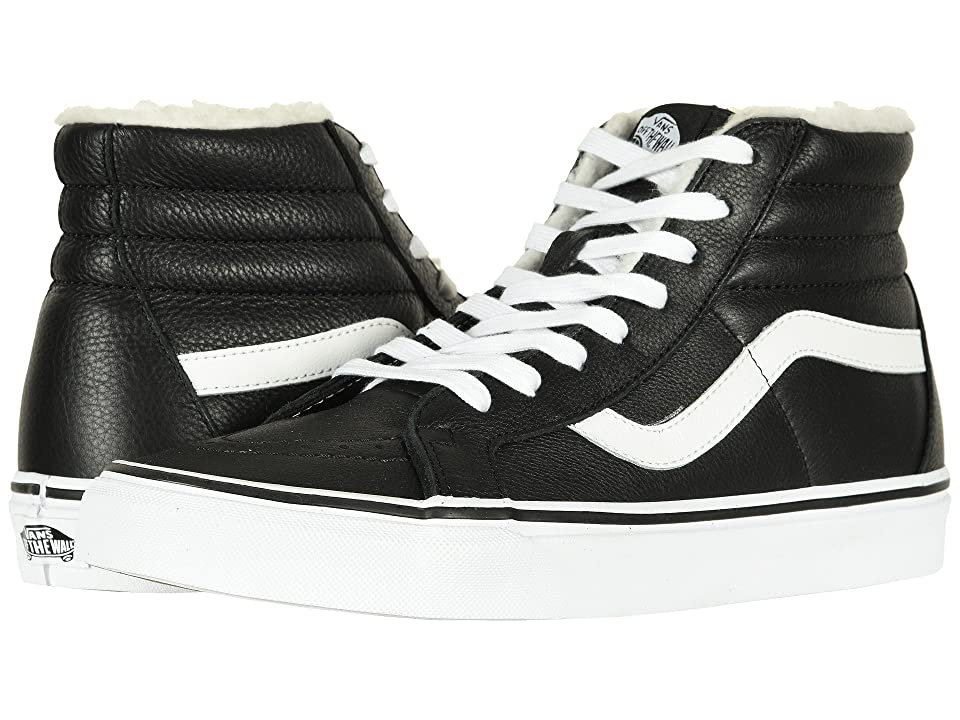 Vans SK8-Hi Reissue ((Leather/Fleece) Black/True White 2) Skate Shoes
