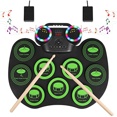 YISSVIC Batterie Électronique Drum Set 9 Pads Rechargeable Type C Électronique Roll Up Tambour avec Pédales et Baguettes Pour Enfant Adulte Cadeau de Noël