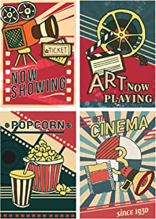 Living Room Movie Room Decor - Stylish Home Theater Décor Accessories - Wall Decorations Set For Family Media Room - Premium Cinema Art Posters For Modern Game Room - Thick Paper Matte Laminated Signs