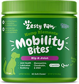 Zesty Paws Glucosamine Dogs with Hemp - Hip & Joint Dog Supplement with Chondroitin, Curcumin, Organic Turmeric & Msm + Om...