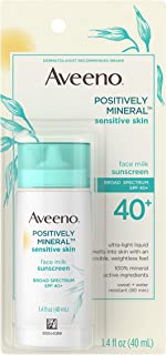 Sponsored Ad - Aveeno Positively Mineral Sensitive Skin SPF 40+ Sunscreen Face Milk with Zinc Oxide & Titanium Dioxide, In...