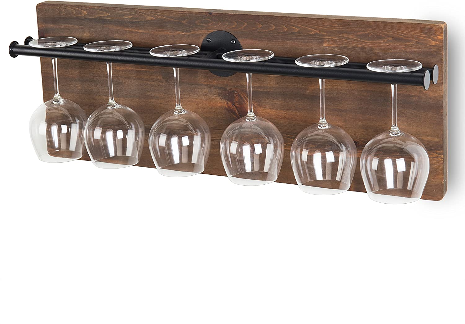 MyGift Wall-Mounted Industrial-Style Wine Glass Holder with Pipe Metal Rack