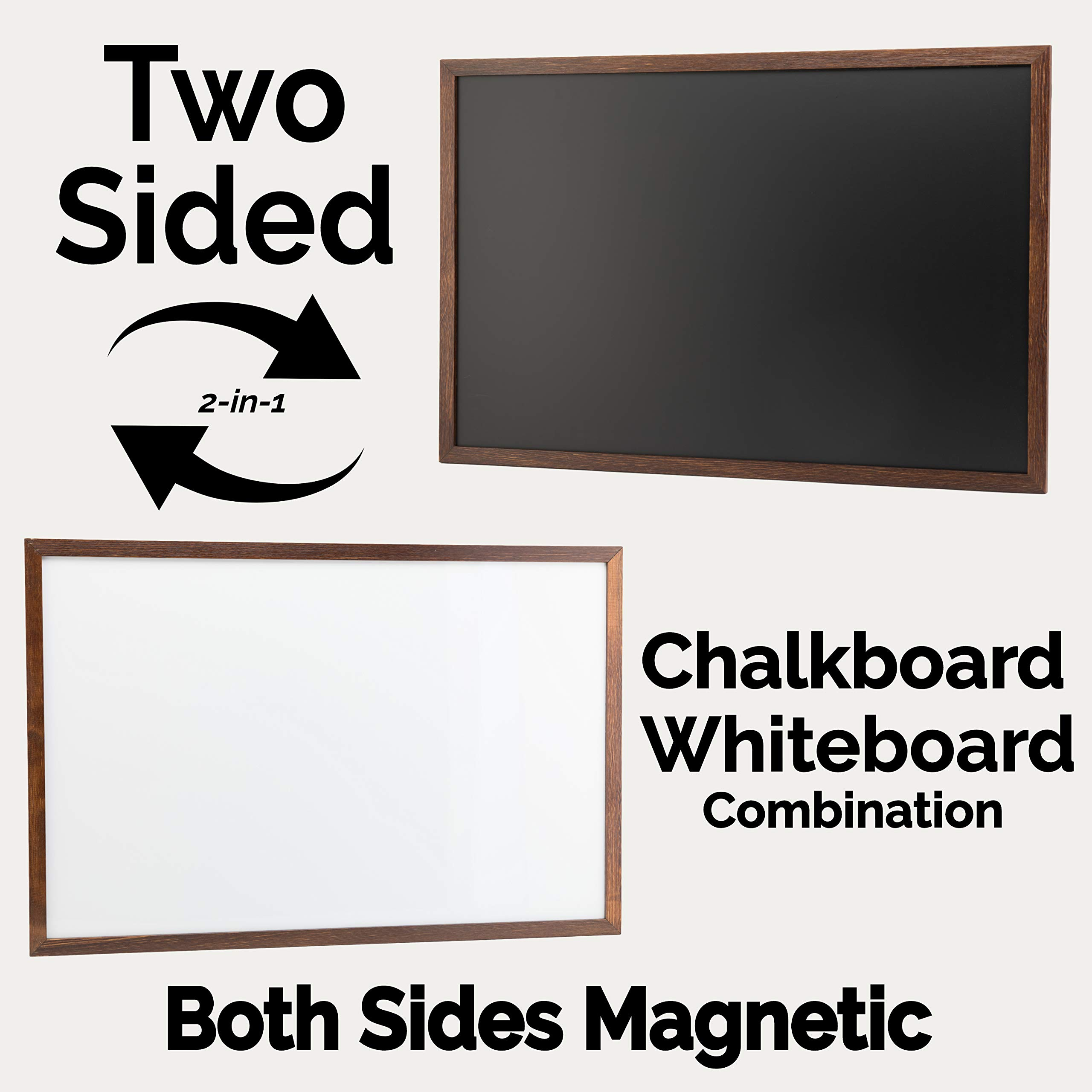 Metal Frame Includes Chalk and Magnets Navaris Double-Sided Chalkboard Whiteboard 16 x 24 Wall Blackboard Magnetic Dry Erase Message Board