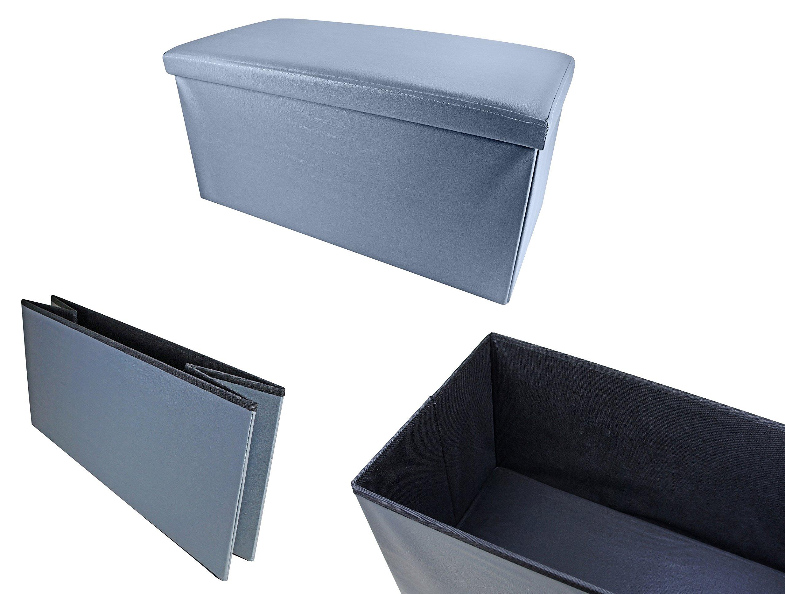 Bayli Asiento cubo XXL con espacio de almacenamiento de piel sintética, caja con tapa 76 x