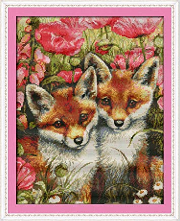 CaptainCrafts Hot New Releases Cross Stitch Kits Patterns Embroidery Kit - Two Little Foxes (Stamped)