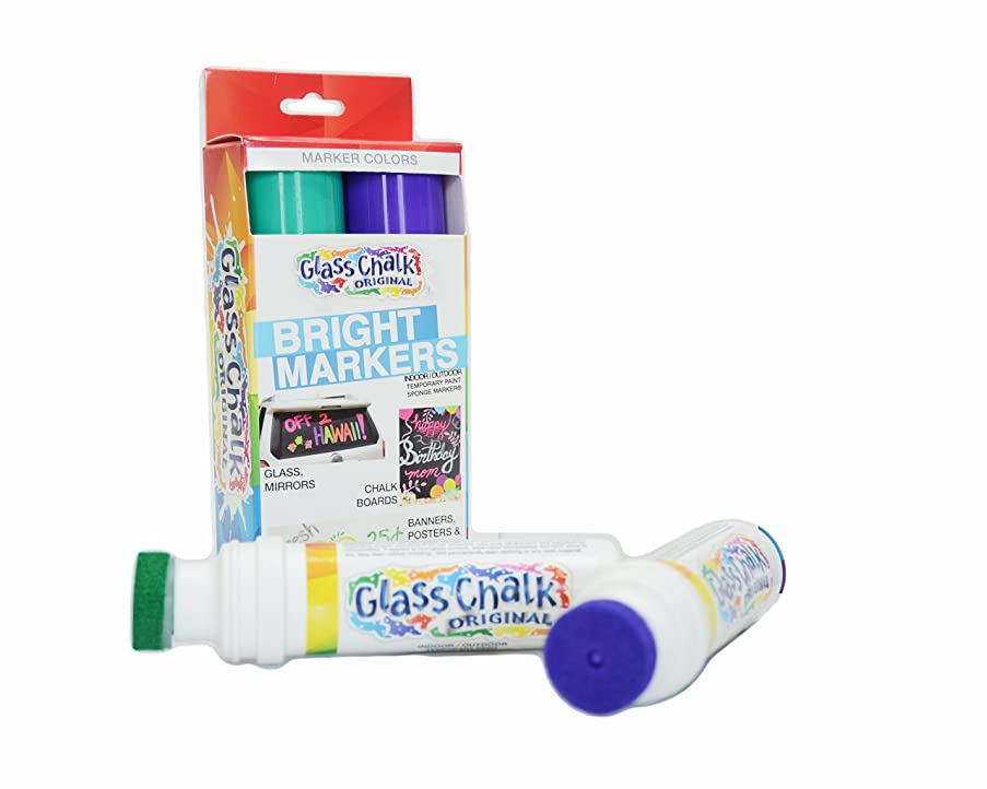 Glass Chalk the Original Patented Indoor/Outdoor Temporary Paint Marker for Auto Windows and Surfaces, Green and Purple, 2 Piece