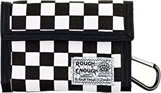 Rough Enough Classic Bifold Canvas Checkerboard Checker Wallet Portable Credit Card Holder Basic Coin Pouch Organizer Case with Zipper for Boy Men Teen Sports Outdoors Travel