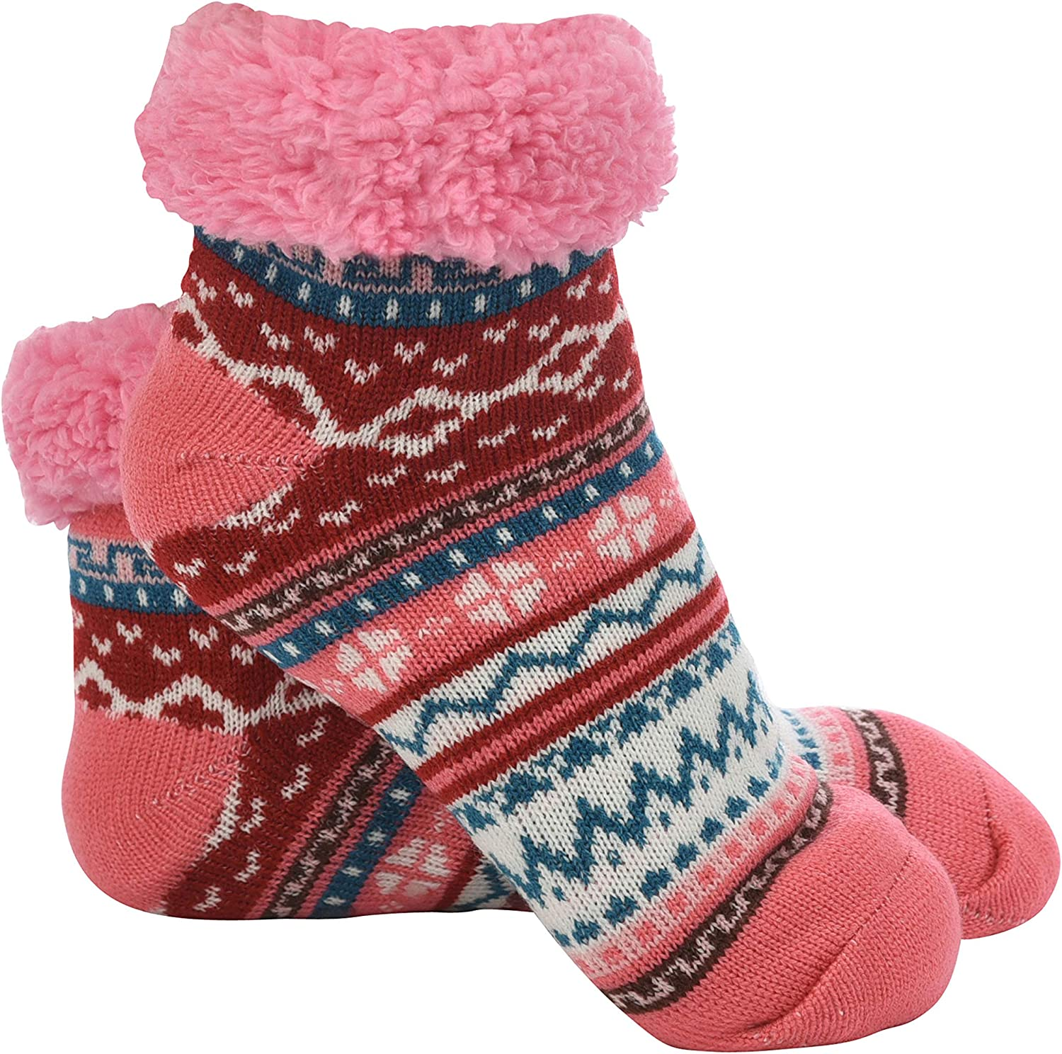 Snoozies Bright Footies Sherpa Lined Womens Socks - Fuzzy Socks for Women
