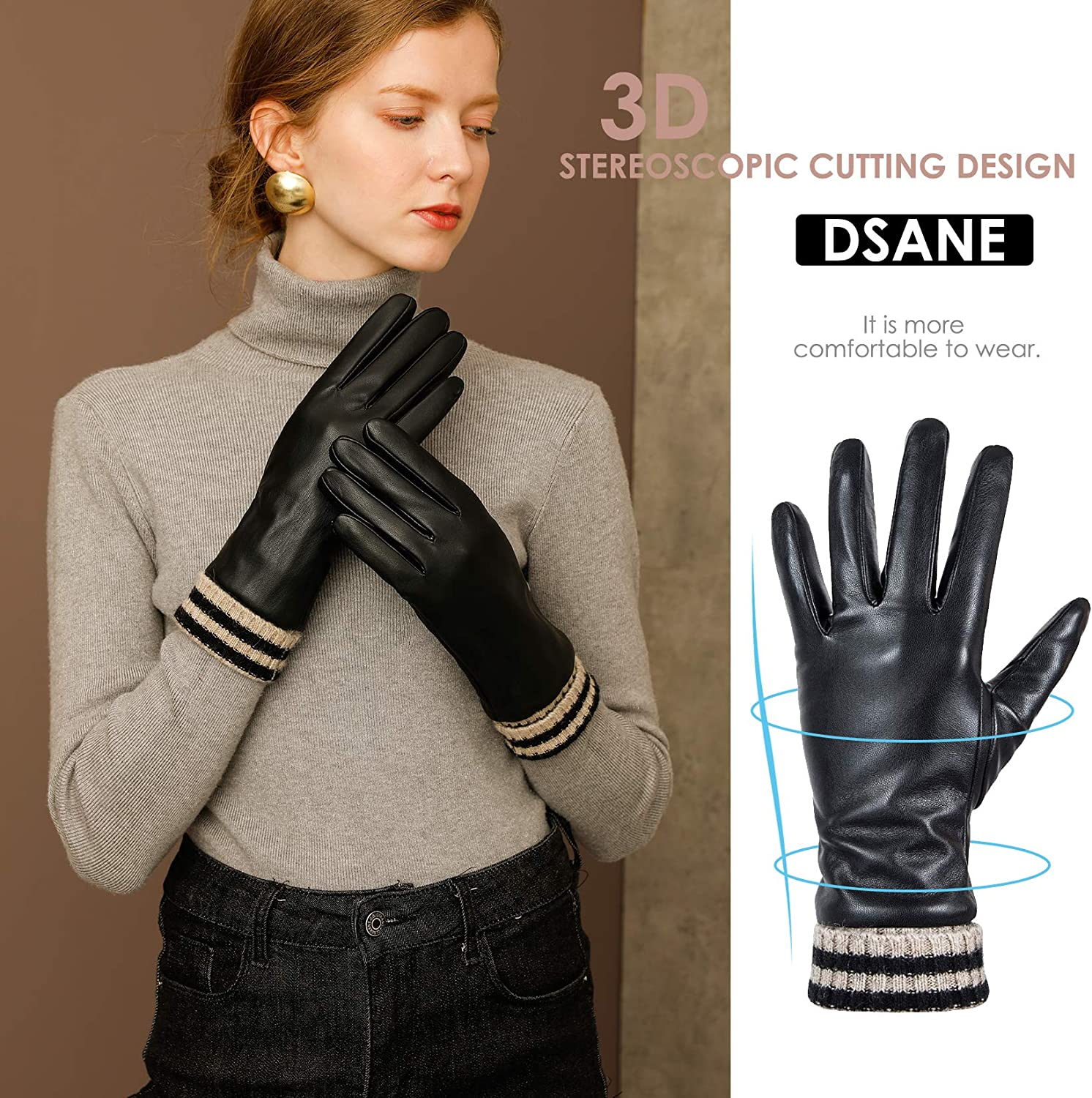 Womens Winter Leather Gloves for Women Touchscreen Texting Warm Driving Gloves