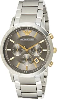 Emporio Armani Men's Japanese-Quartz Watch with Stainless-Steel Strap, Silver, 22 (Model: AR11047)