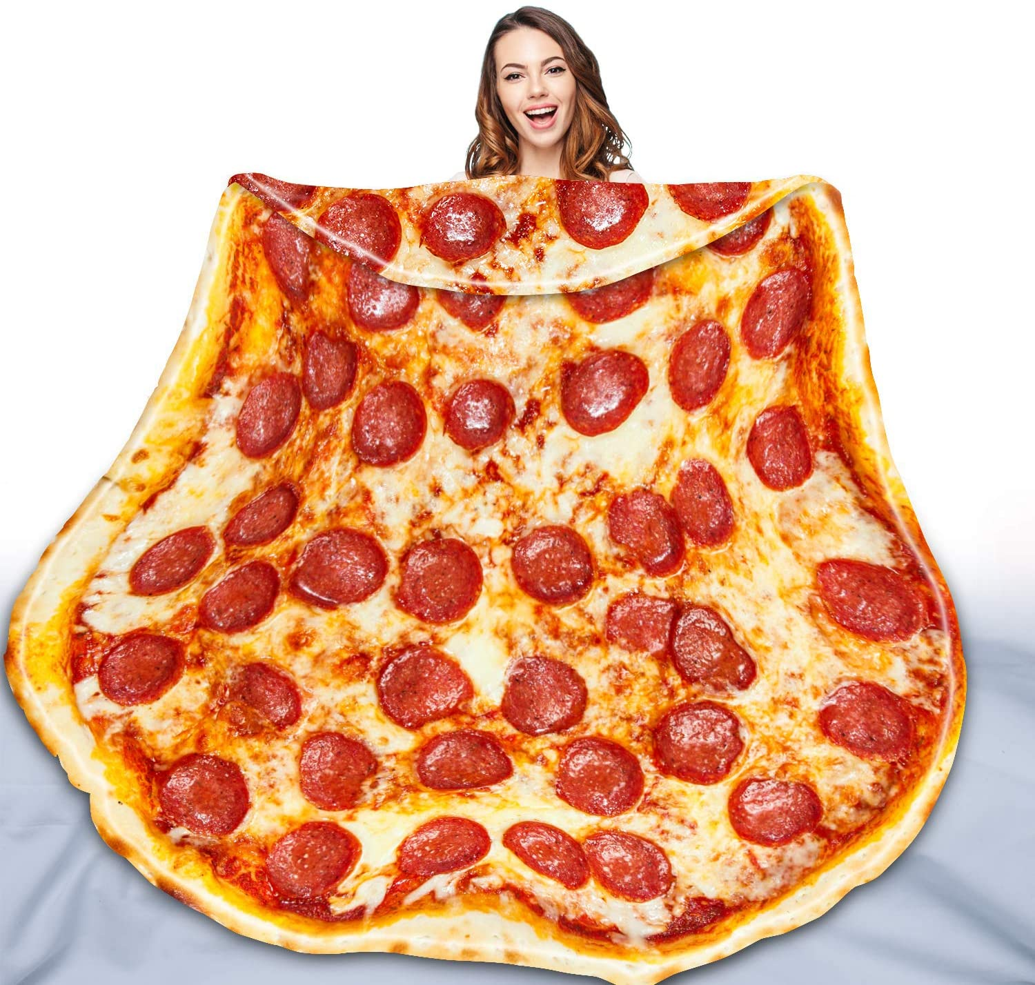 QIYI Pizza Blanket 2.0 Double Sided for Adult and Kids, Giant Funny Realistic Food Throw Blanket, Novelty Round Taco Blanket, Warm Soft Burritos Tortilla Blanket - 60