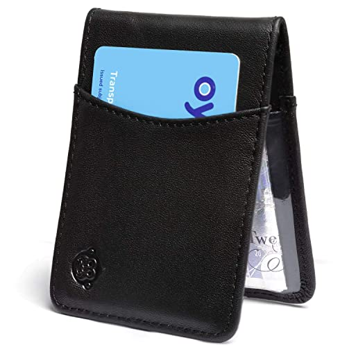 c8251d247201b Leather Oyster Card Holder - Slim Genuine Leather Travel Card Pass Holder  Wallet with