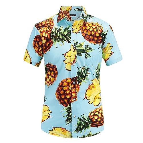 159e1da01729 JEETOO Men s Pineapple Floral Short Sleeve Hawaiian Aloha Shirt