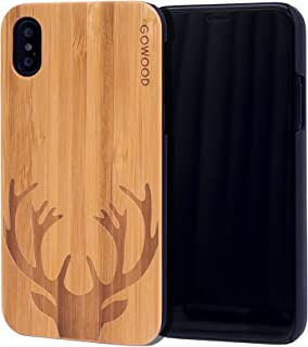 Wood Case for iPhone X and XS | Real Bamboo Deer Engraved Wooden Backplate with Polycarbonate Protective Bumper and Shock Absorbing Rubber Coating for Optimal Protection GOWOOD