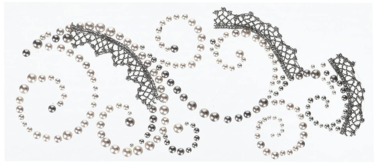 Prima 540852 3 by 7-Inch Say It in Pearls and Crystals Swirl with Lace, Gray
