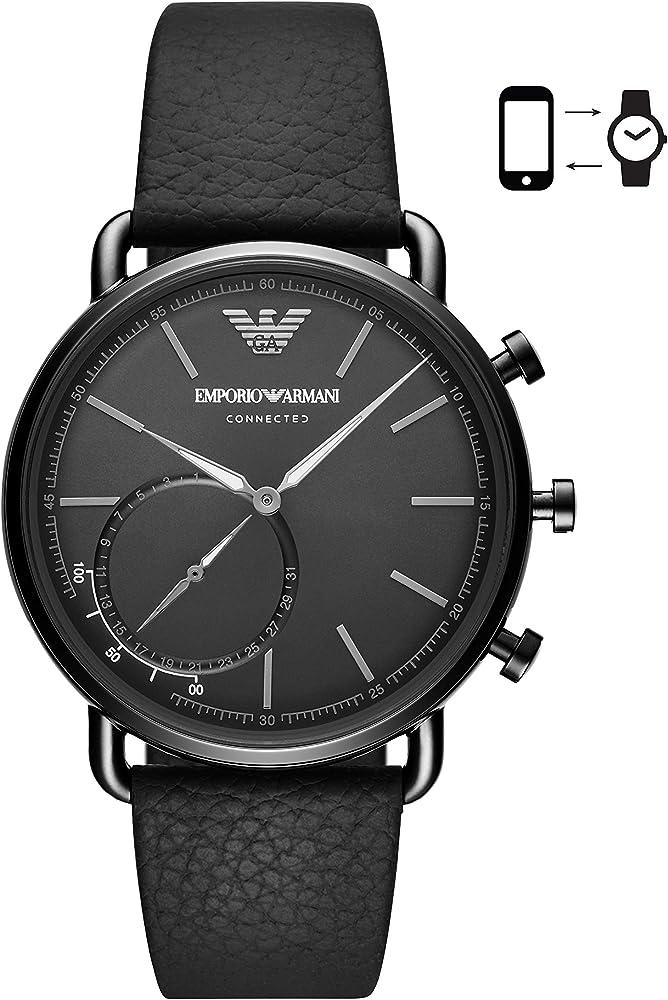 Emporio armani Smartwatch Hybrid Uomo In Acciaio Inossidabile E Cinturino In Pelle ART3030