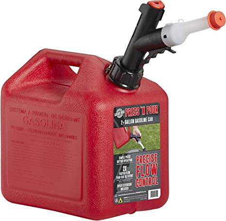 GARAGE BOSS GB320 Briggs and Stratton Press 'N Pour Gas Can, 2+ Gallon, Red: image