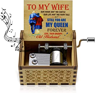 Colorful Music Box to Wife-U R My Sunshine Tune Wooden Classic Hand Crank Musical Box Gifts for Wife, Love on Wedding Anni...