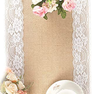 Tebery 2 Pack Lace Natural Jute Burlap Hessian Table Runner, Country Outdoor Wedding Party and Farmhouse Decoration-12