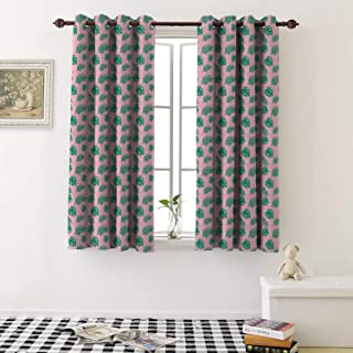 Room Darkening Curtains seamless pattern exotic tropical jungle green palm leaves with white triangle on the pink b print grommet kid blackout curtains (1 Pair, 36