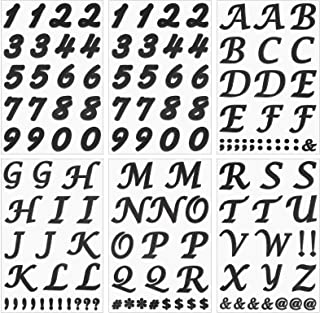 6 Sheets Iron on Letters Numbers 2 Inch Heat Transfer Number Alphabet Black Flock Letter Numbers, Includes 4 Sheets Letter...