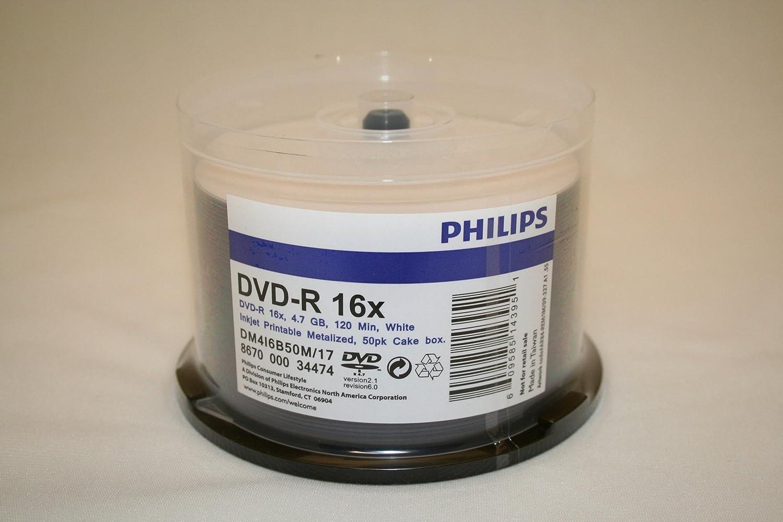 Philips Brand Blank DVD-R 16x Disc White Indefinitely Pack. Shipping included 50 Printa Inkjet
