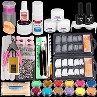 Acrylic Nail Kit,with Acrylic Powder Liquid Monomer Glitter Nail Tips,Acrylic Nail Art Decoration Tools Professional Manic...