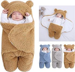 Couverture à capuche pour nouveau-né - Sac de couchage - Couverture d'hiver chaude en polaire - Avec jambes - Pour pousset...