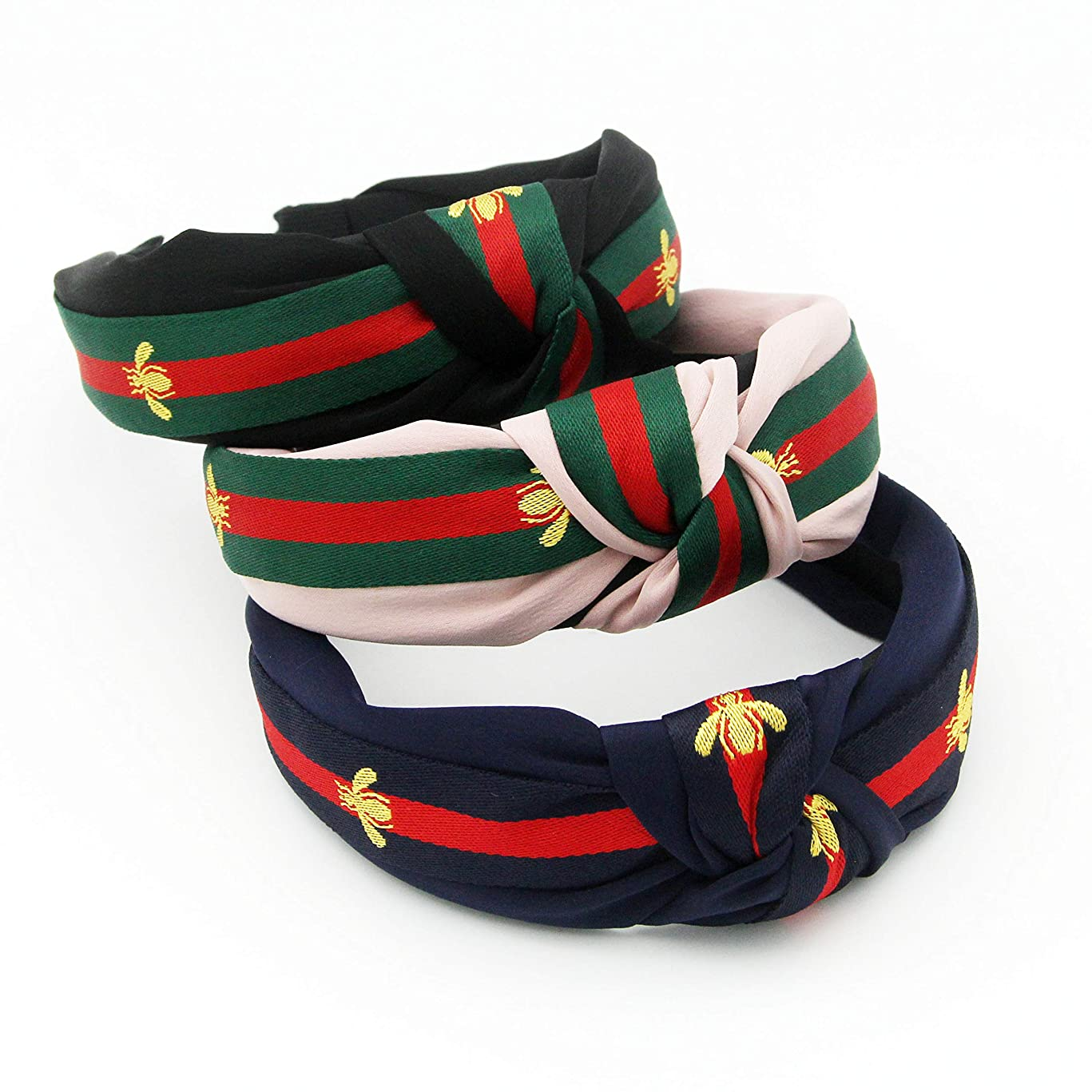Red Green Stripe Headbands for Women - Hair Hoops with Bee Animal - Cross Knot Hairbands with Cloth Wrapped for Girls - 3Pcs (Bee Animal Style)