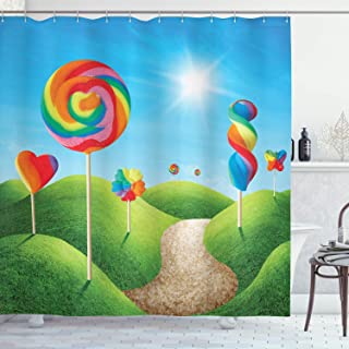 Ambesonne Fantasy Shower Curtain, Fantasy Candy Land with Delicious Lollipops and Sweets Sun Cheerful Fun Print, Cloth Fabric Bathroom Decor Set with Hooks, 70