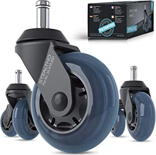 STEALTHO Replacement Office Chair Caster Wheels Set of 5 - Protect Your Floor - Quick & Quiet Rolling Over The Cables - No...